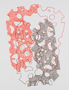 Zwarte en rode vormen en lijnen